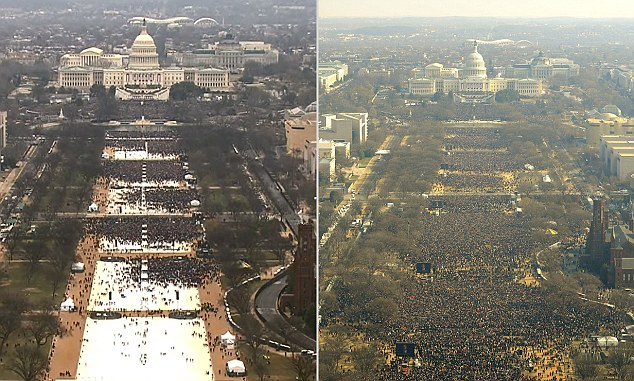 Aerial photographs showed the crowds at Trump's inauguration on Friday (left) were significantly smaller than when Barack Obama took over as president in 2009 (right). Priebus argued that this photo failed to note that it was taken before Trump's speech