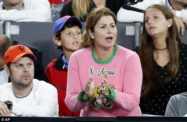 Mirka Federer cheers on husband Roger of Switzerland during his semi- final vs Stan Wawrinka