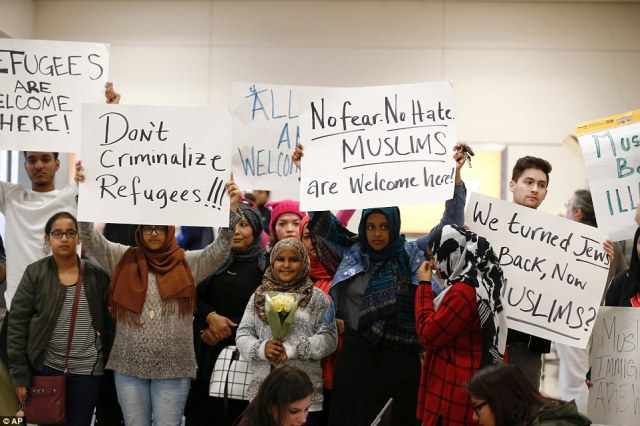 Protesters also demonstrated at Dallas Forth Worth Airport Saturday afternoon as the immigration ban created chaos