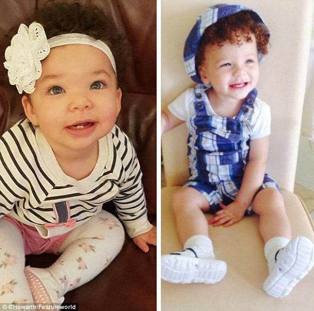 Blue-eyed wonders: Son Jonah (right) is now three, while daughter Sophia was born last March