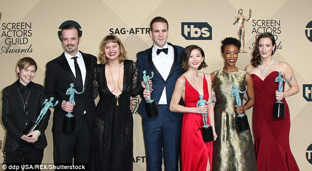 Gong alert: She joined a series of co-stars on stage to collect their gongs including Abigail Savage, James McMenamin, Alan Aisenberg, Kimiko Glenn, Samira Wiley and Julie Lake