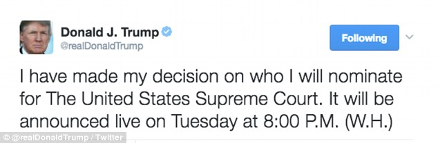 President Donald Trump said Monday morning that he will introduce his Supreme Court nominee to the nation at 8:00 p.m. Tuesday