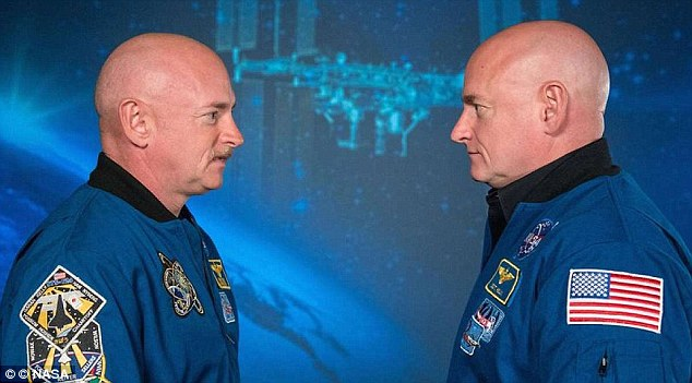 While astronaut Scott Kelly (right) aboard the international space station lived for 340 days, his identical twin brother Mark (left) remained on Earth - and researchers have now found some differences between the two