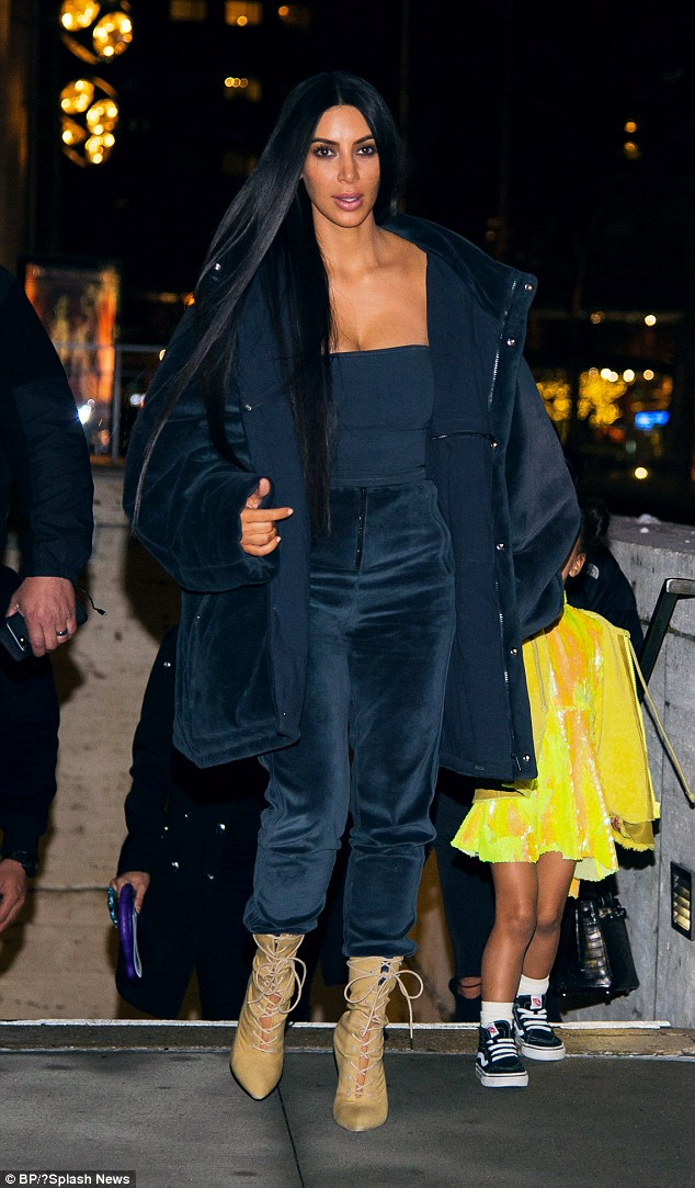 Kim Kardashian (pictured in New York on Tuesday night) gave her testimony in relation to the multi-million dollar Paris jewelry heist behind closed doors in New York on Wednesday
