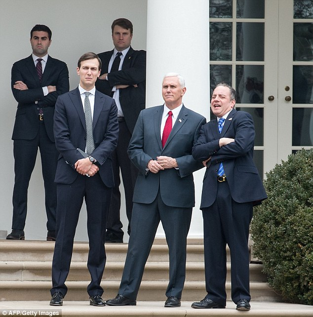 Ivanka's husband, Senior Adviser Jared Kushner, and White House Chief of Staff Reince Priebus and Vice President Mike Pence watched from the Rose Garden as they left