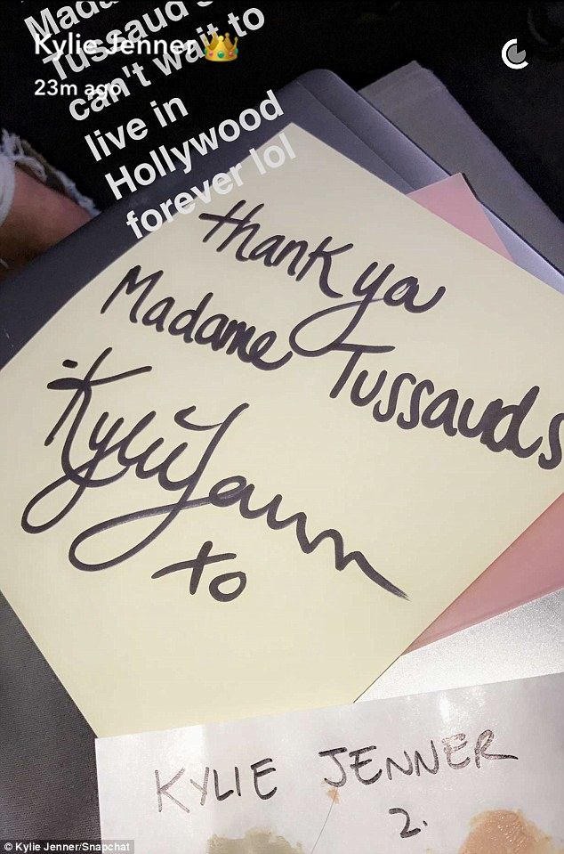 Gratitude: In a thank you note to Madame Tussaud's, she revealed her wax figure will live in the Hollywood museum on Hollywood Blvd. in Los Angeles