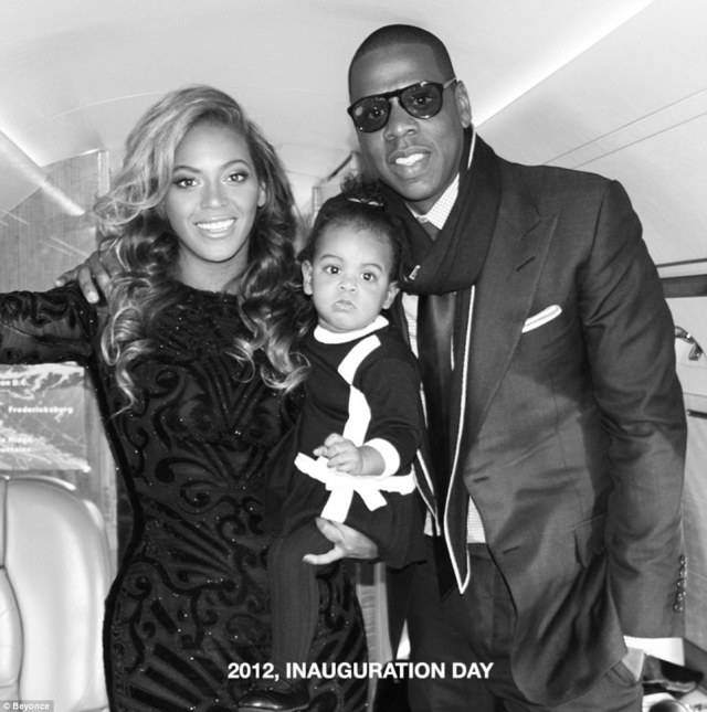 The big day:The happy family were also snapped together at Barack Obama's inauguration in 2012, where the songstress had the honour of belting out the national anthem
