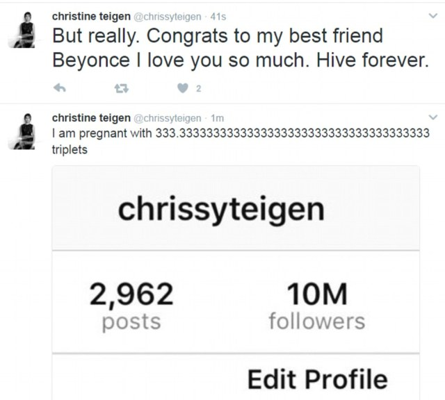 'Hive forever': Chrissy Teigen celebrated 10m followers and Beyonce's pregnancy with her trademark humour