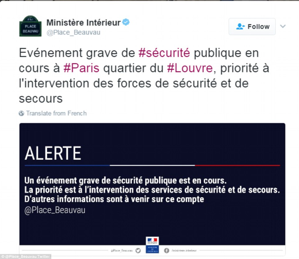 The French interior ministry has branded this morning's incident 'serious' in a post on Twitter