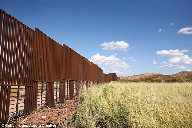 Trump had previously said he'd build a 'big, beautiful wall.' Instead, much of it could use electronic surveillance rather than physical structure. Pictured: A portion of the border near Agua Prieta, Mexico and Douglas, Arizona