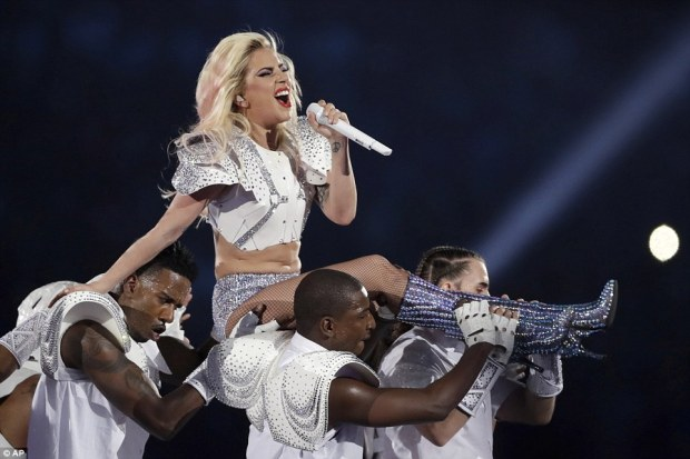 Queen gaga: She sang her heart put as she was carried on the shoulders of some of her male back-up dancers