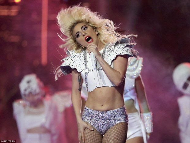 Nailed it: Gaga showed off her flawless figure in her two-piece ensemble and sang her heart out through her scarlet red lips