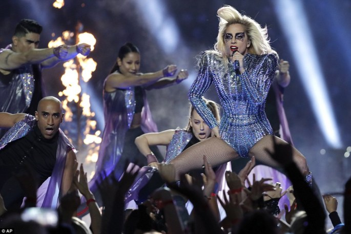 Lady Gaga performs during the halftime show of the NFL Super Bowl 51 football game against the Atlanta Falcons