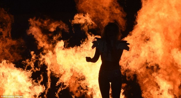 Inferno: With just 13 minutes at her disposal, Gaga could not pull off many changes of costume and utilized pyrotechnics throughout her performance