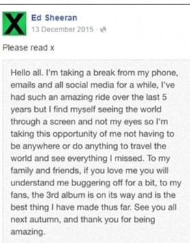 Image result for ed sheeran break from social media
