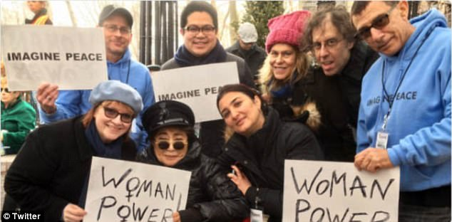 Ono tweeted this photo of herself with fellow protesters holding signs reading 'woman power' and 'imagine peace' following the Women's March in NYC