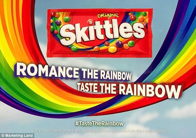 Based on the total 66 ads, only 20 of them included a hashtag, which is 15 percent less than last year. This included Skittles with #TasteTheRainbow (pictured)