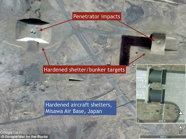 Possible shelter or bunker targets resemble hardened aircraft shelters at the Misawa Air Base in Japan