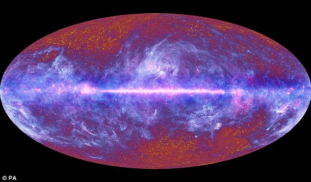 Dark matter is thought to make up 27 percent of the universe. But, it is difficult to detect. The image shows the relic radiation, otherwise known as the Cosmic Microwave Background, created in the Big Bang