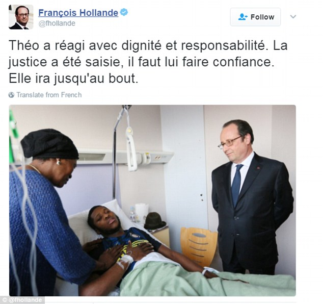 Following his visit, Hollande tweeted praising the young man's dignity, and said he believed justice would be served