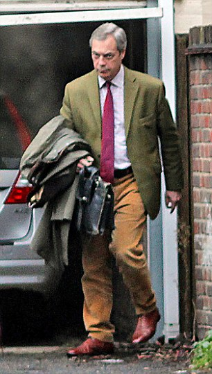 Close: Bloom was said to be horrified that he had been linked to the break down in the Farage's relationship as he believed in the 'sanctity of marriage'. Pictured: Shortly after Miss Ferrari was seen at Farage's London home, he was seen leaving the property