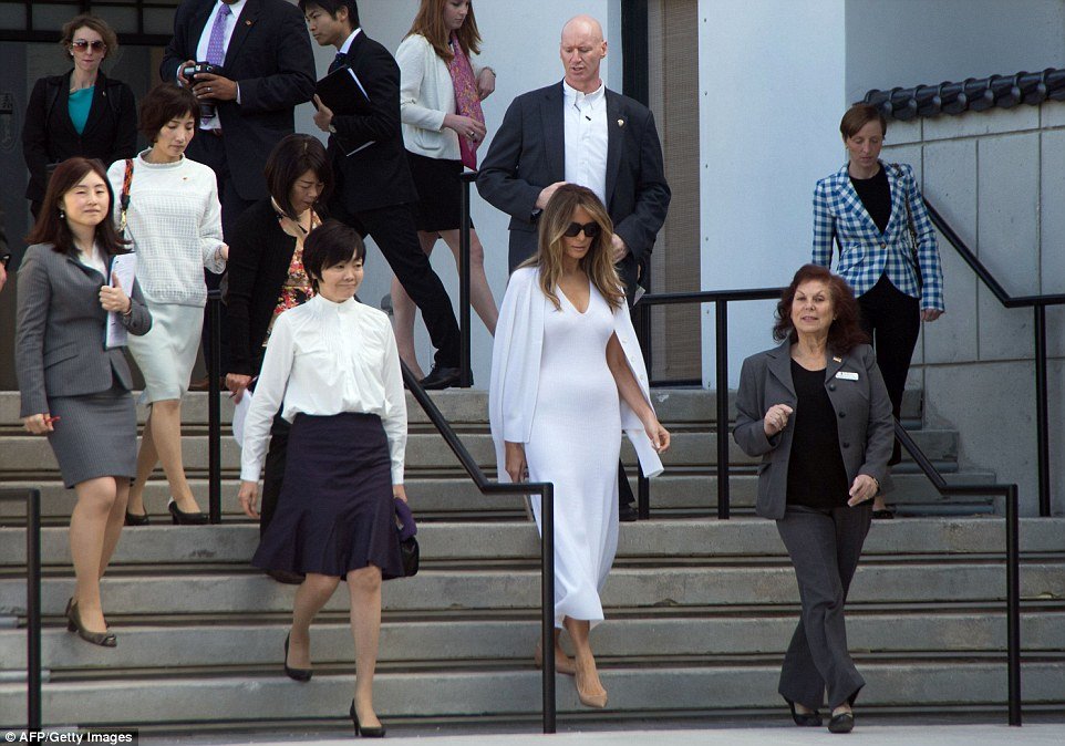 The first lady met the Japanese Prime Minister and his wife at Andrews Air Force Base in Maryland yesterday