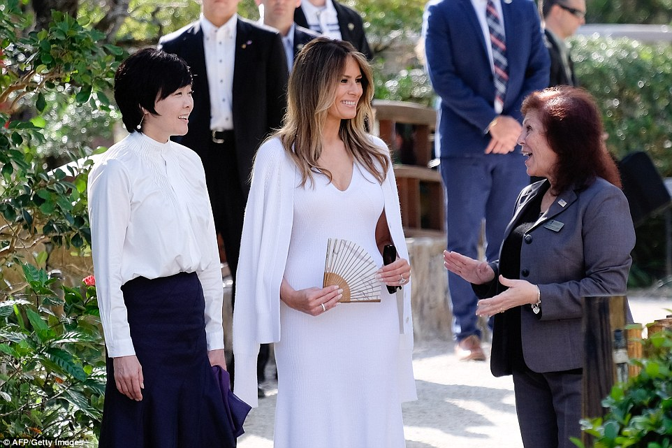 Park Administrator Bonnie White Lemay (right) gives Mrs Abe and Mrs Trump a tour of Morikami Museum and Japanese Gardens