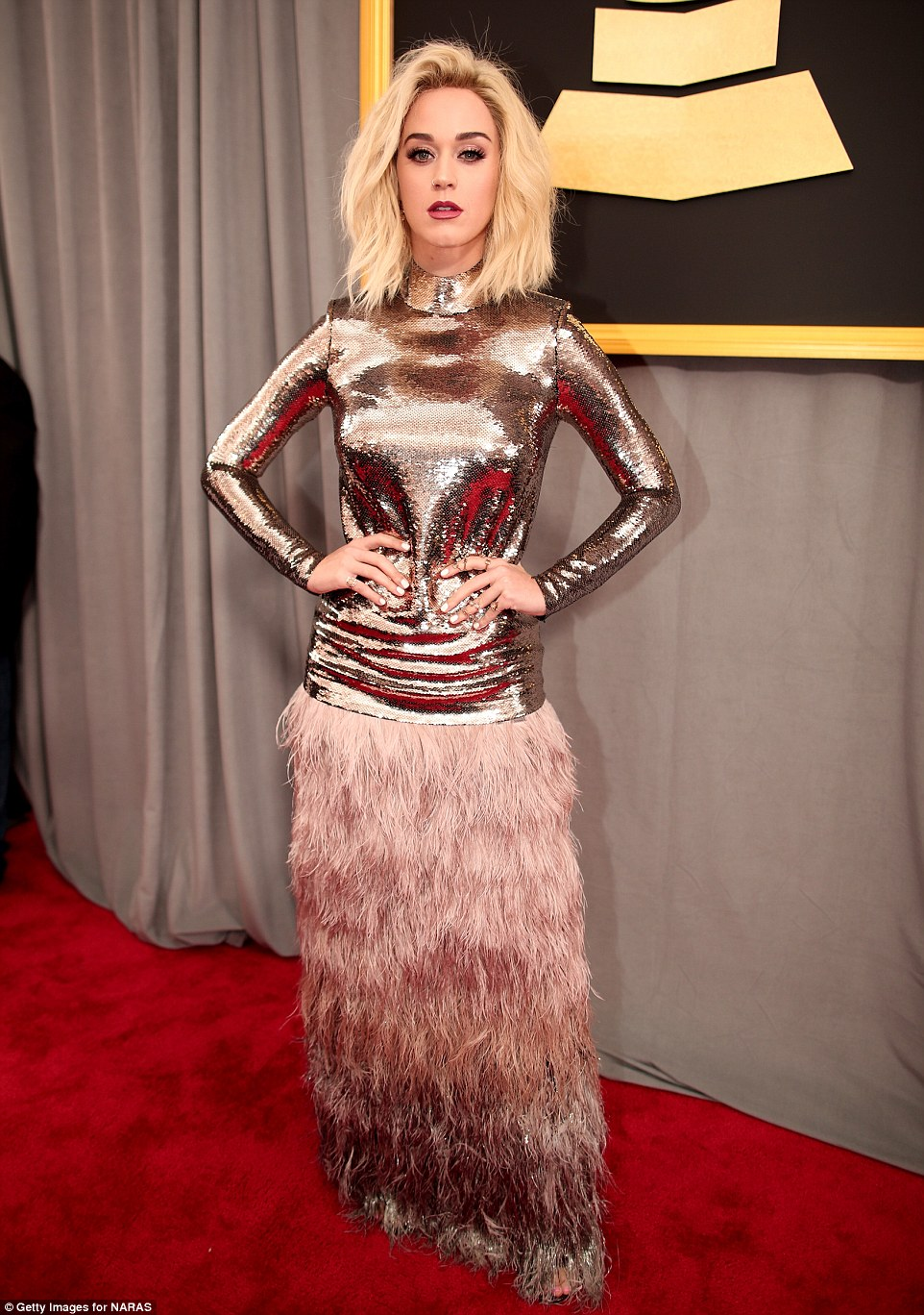 Mixing it up! Katy Perry rocked a unique Tom Ford creation with sequins and feathers