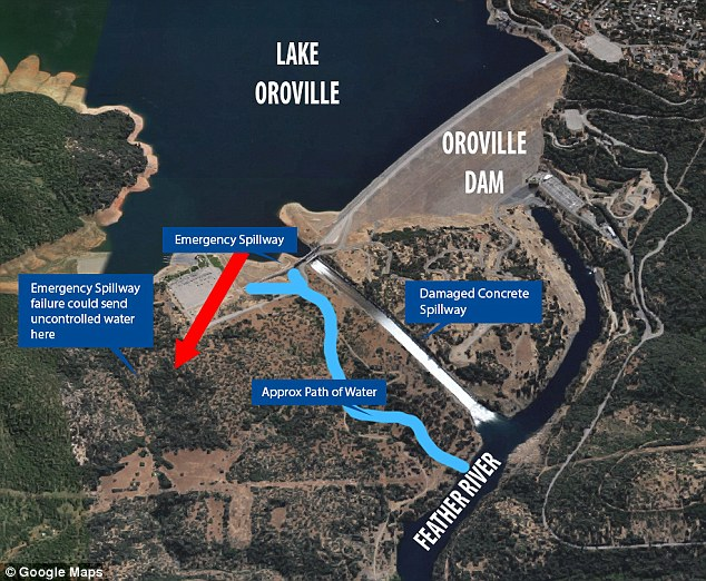 Image result for oroville spillway map of area