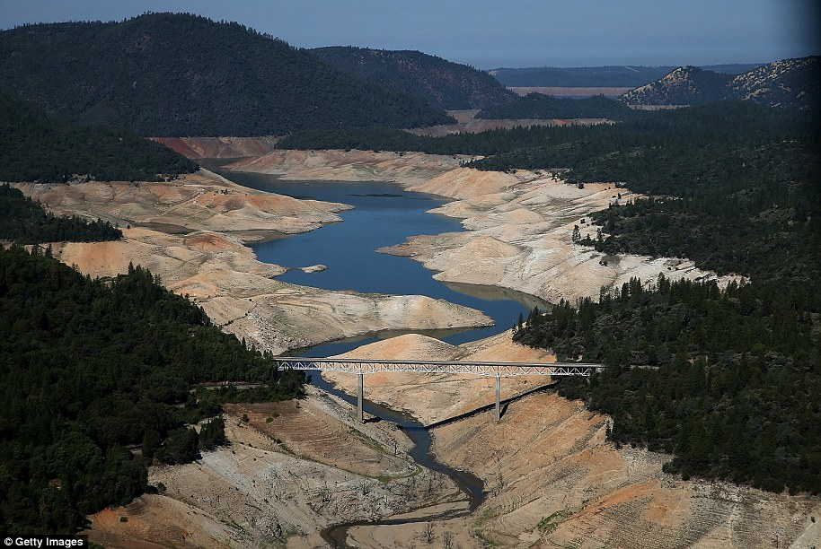 During the drought: A section of Lake Oroville is seen nearly dry on August 19, 2014