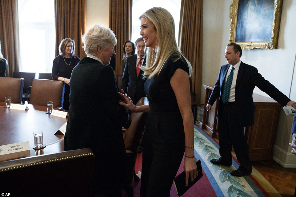 Ivanka joked with Annette Verschuren, the President of Home Depot in Canada and Asia, who was also invited to the talks