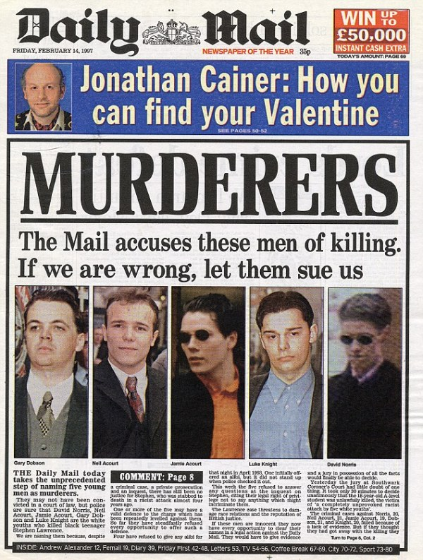 The murderer of Stephen Lawrence who got away | Daily Mail ...