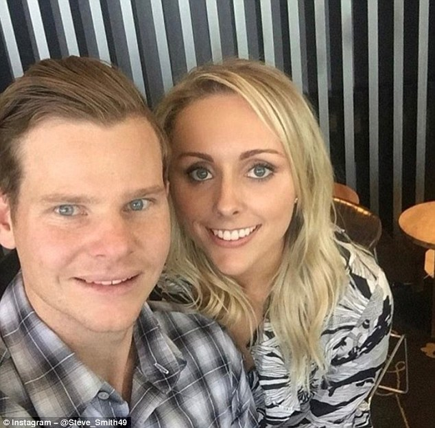Australia captain Steve Smith poses with his partner Dani Willis Down Under