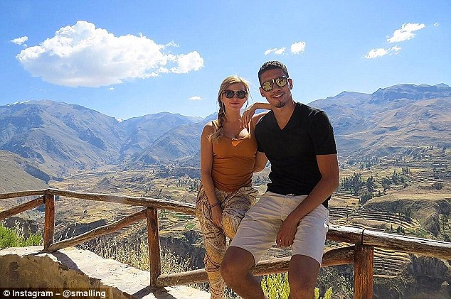 Chris Smalling posted a picture with his fiancee Sam Cooke, who he will marry in the summer