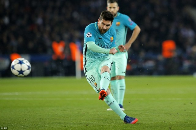 The visitors then began to work their way into the contest, with Lionel Messi firing in a shot to test goalkeeper Kevin Trapp