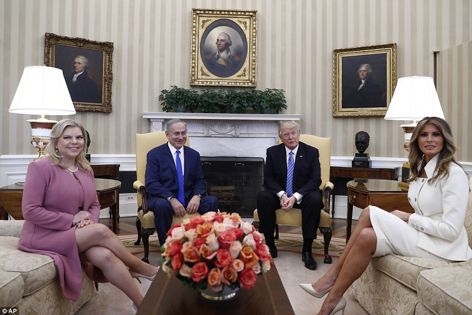 Over in the oval: After the conference, the President and First Lady spent time in the Oval Office with the Netanyahus