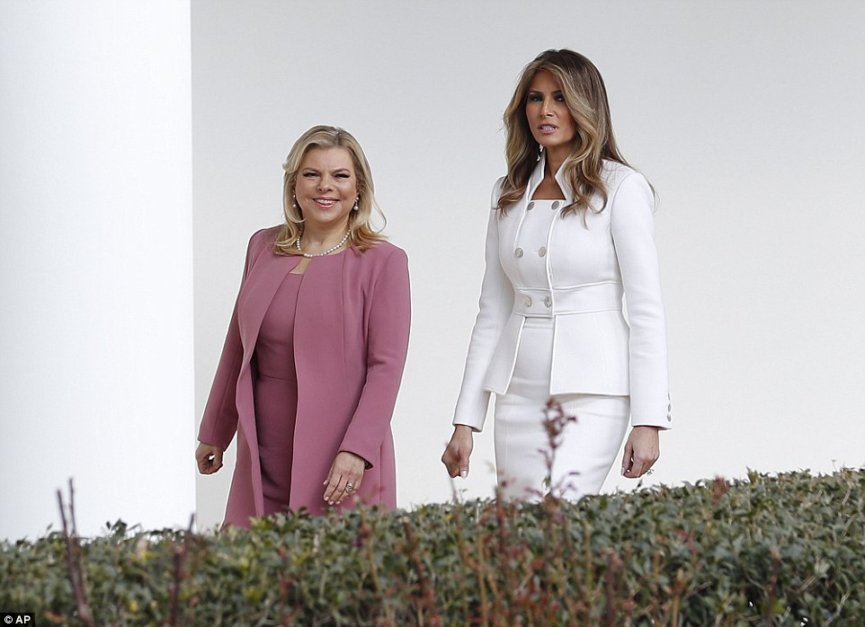 First tour: The First lady escorted Sara around the White House on Wednesday afternoon