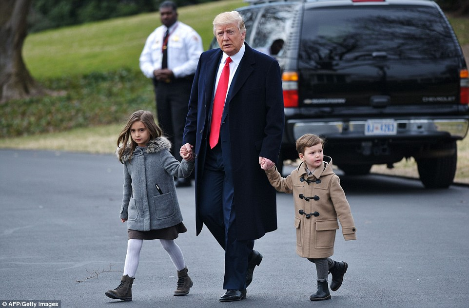 President Donald Trump spent some time with his grandchildren Arabella and Joseph today before boarding Marine One on his way to South Carolina