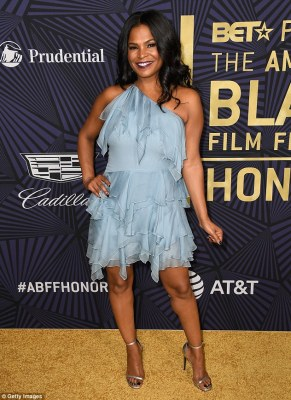 Blue beauty: Actress Nia Long, 46, of Boyz n the Hood fame, channeled a fairy vibe with her baby blue ruffled one shoulder dress which showed off her sculpted legs