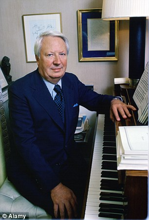 Edward Heath with his piano at his home Arundells in Salisbury, Wiltshire