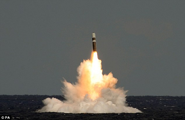 Undated handout photo issued by the Ministry of Defence of a still image taken from video of the missile firing from HMS Vigilant, which fired an unarmed Trident II