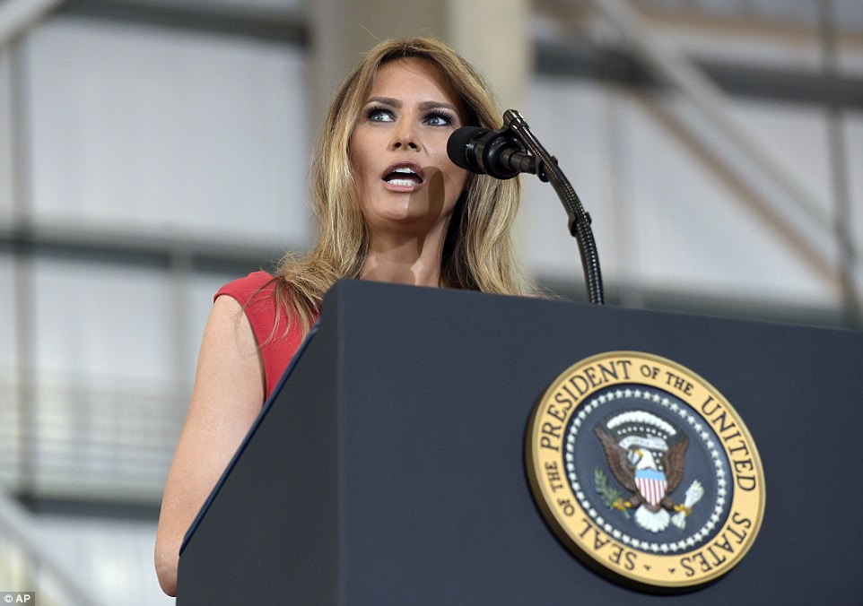 First Lady Melania Trump addressed the crowd and said:'I will always be truthful to myself and be truthful to you no matter what the opposition is saying'