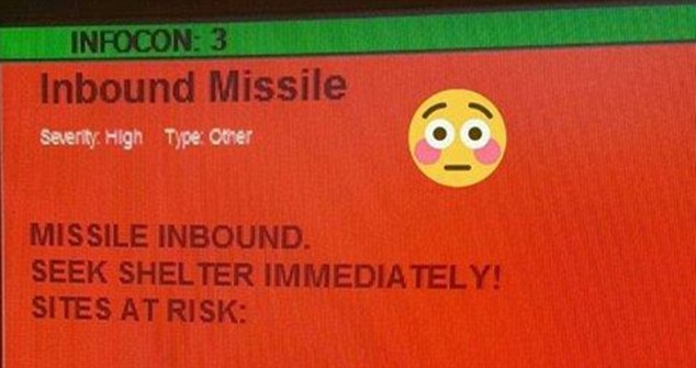 Humor: Social media users had fun with the mistaken announcement at the NATO air base in Germany. One user added an embarrassed smiley face to the original test message