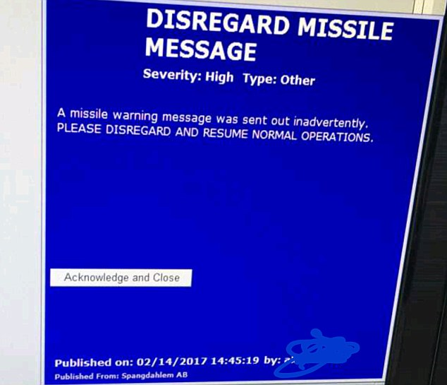 Correction: Eight minutes later, a blue message recalled the missile warning and cleared up the matter