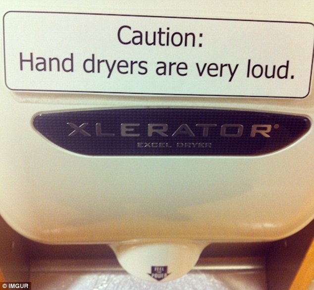 Is this sign specific to this Xlerator hand dryer alone, or a broad statement regarding hand dryers in general?