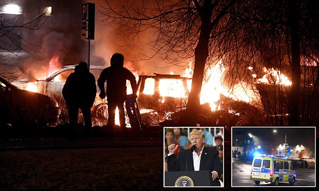 Riots in the Stockholm suburb Trump mentioned in speech
