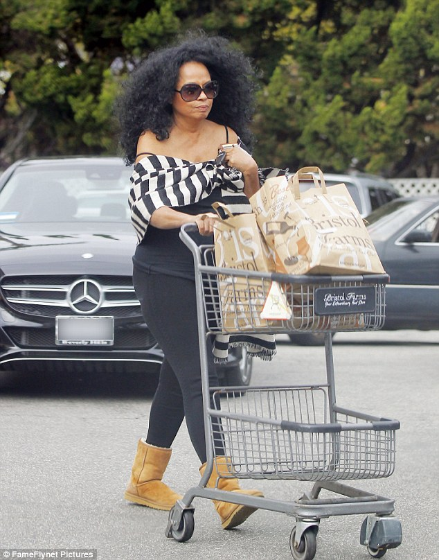 She does her own shopping: Diana Ross was spotted leaving the Bristol Farms grocery store in Beverly Hills on Tuesday