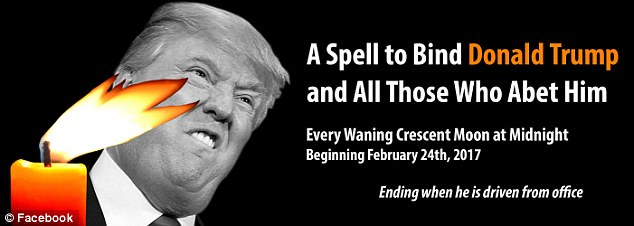 Gathering he goods:Among the objects required to complete this spell are an unflattering photo of Trump, a tiny orange candle (artwork on flyer post on the official page of the event)