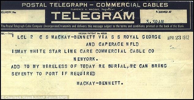 Frederick Larnder, capitán del Mackay-Bennett, tuvo problemas con el número de cuerpos
