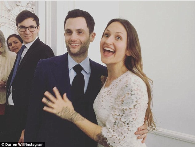 Off the market: Penn Badgley is a married man. The Gossip Girl star tied the knot with girlfriend Domino Kirke - whose sisters are actresses Jemima and Lola Kirke - in a courthouse on Monday in Brooklyn